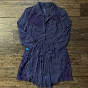 Free People Dresses - Free People - Dark Purple Pocket Dress with Lace